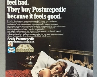 1969 Sealy Posturepedic Mattress Print Ad