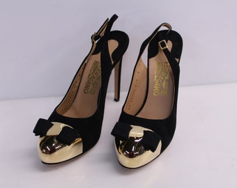Vintage Salvatore Ferragamo Black Suede Slingback Pumps With Gold-Tone Toe and Signature Bow - US 8