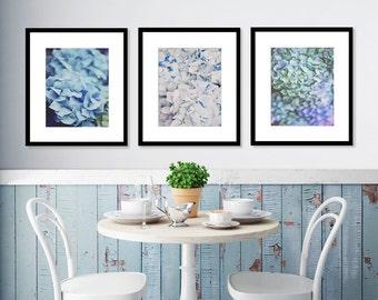 Hydrangea Print Set, Set of 3, Purple Decor, Blue Room Decor, White, Floral Decor, Wall Art, Living Room Decor, Wedding Gift, Gift for Wife