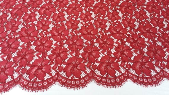 Guipure lace fabric, French lace, Chantilly lace, Bridal lace ,Wedding lace ,White lace ,Veil lace, Scalloped Floral lace ,
