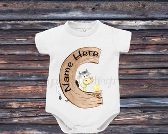 Monogram Baby Outfit - Farm Animal Baby Shirt - Cow Shirt - Farm Animal Shirt - Custom Baby Name Top - Gifts for Baby - New Baby Gift