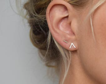 Chevron Stud Earrings - V Earrings - Small Stud Earrings - Minimalist Earrings - Geometric Stud Earrings