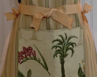 Full apron stripe cotton ticking - kaki green & tan butterscotch grosgrain ribbon palm tree pocket