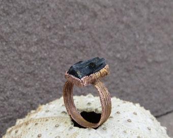 Rough black tourmaline ring   Raw black tourmaline copper ring   Raw schorl tourmaline electroformed ring