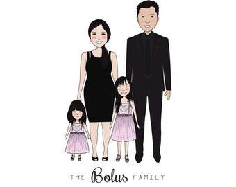 FAMILY PORTRAIT ILLUSTRATION,custom family portrait,personalized gift anniversary,housewarming,birthday,wall art,drawing,digital download