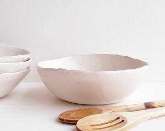 Handmade satin white ceramic pasta bowl, white pottery Serving bowl, white ceramic fruit bowl, white pottery soup bowl, white tableware