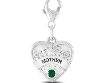 Personalized Birthstone Mother Charm, Silver Mother Heart Charm, Sterling Silver Mother Charm Gift for Mom Silver Heart for Mother Gift