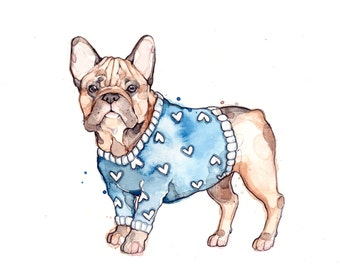 French Bulldog | Dog | Watercolor | Original Artwork | Pull | Marie-Eve Arpin | Dog with a pull | Deco | Handmade | Art | Drawing