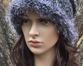 Hand Knit Winter Hat, Flared-Brimmed Knit Hat, Winter Hat with Fun Fur, Gray Knit Hat, Winter Accessory, Ladies Hat, Fashionable Winter Hat