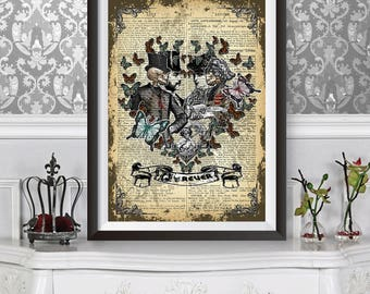 Victorian Anatomical Lovers, Unique Poster with Dictionary background celebrating Love words, Anniversary Wedding Gift