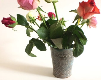 Geometric jade stone vase