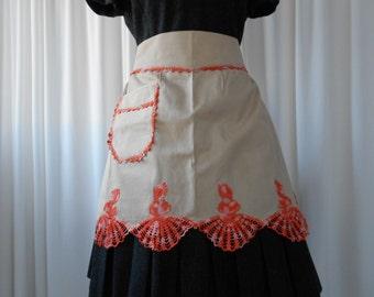 Vintage Half Apron with Crochet Crinoline Lady Trim Unused 1950's  #20072
