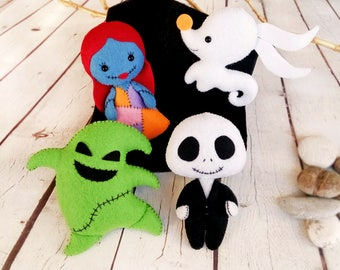nightmare before christmas decor halloween ornaments jack skellington sally oogie boogie zero ghost dog halloween gift