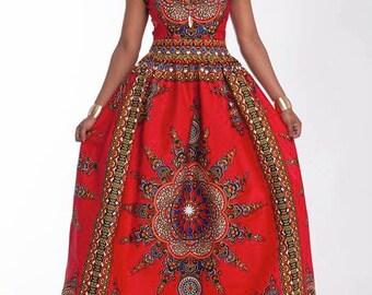 Strapless African print dress