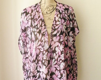 Sale! Sheer Black Kimono Cover up with Pink and Purple Floral Print Design