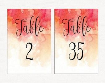 Red wedding table numbers printable Fall wedding Table number cards Watercolor wedding Table decor Romantic wedding Autumn wedding W22