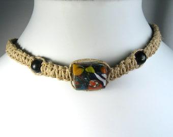 Flat Hemp Choker Necklace with Handmade Glass Center Bead