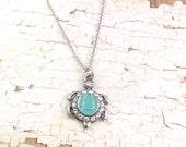 Turtle necklace, Silver turtle necklace, sea turtle necklace, For her, Rhinestone turtle necklace, Boho Jewelry