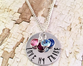 Mothers Necklace, My Tribe necklace, Personalized mom birthstone Necklace, Family necklace, Push present, new mother, Mothers Day Gift