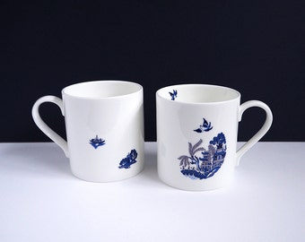 Blue Willow Deconstructed: a modern twist on a British classic - limited run, fine English bone china mug, all individually hand decorated