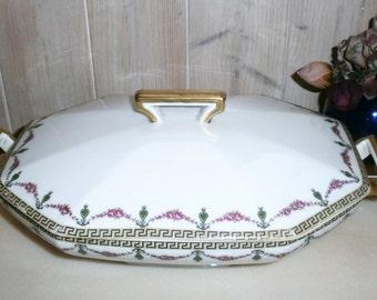 french Vegetable tureen RAYNAUD France LImoges porcelain - Vintage signed vegetable RAYNAUD Limoges France porcelain