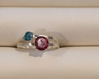 Topaz and Garnet Silver Ring