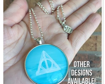 Hand painted Harry Potter necklace, Harry Potter symbol, hand painted glass pendant, glass bubble necklace, friend gift