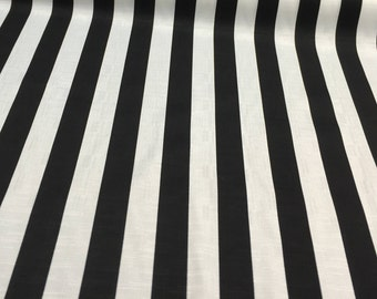 Solarium Outdoor Cabana Stripe Black white Fabric by the yard