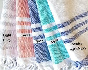 Striped Tassel Towel- Beach, Travel, Bath, Tapestry,  Bachelorette Party Gift, Turkish Towel