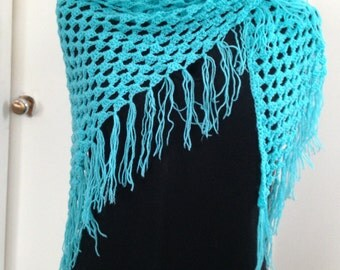 Crochet Granny Shawl, Scarf or Wrap in Turquoise Blue has Fringe, ideal for Cool Summer evenings and Fall, lovely Gift for Her, Women, Teens