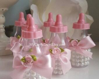 Amazing 12 Shabby Chic Baby Bottle Favors/Girl Baby Shower Bottle Favors/Girl Baby  Bottles