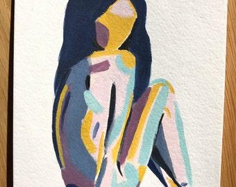 SALE! Mini Pose II woman original figurative art painting, abstract modern figure study, purple, yellow blue