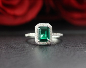 Unique Wedding Ring Emerald Ring Solid 14K White Gold 6x8mm Emerald Cut Emerald Engagement Ring/Promise Ring/Anniversary Ring/Vintage Ring