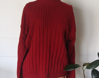 Blood red ribbed sweater