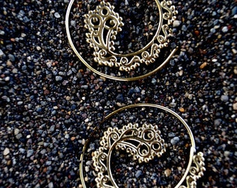 """Boho Spiral Earrings """"Oriental Curl"""" Brass"""