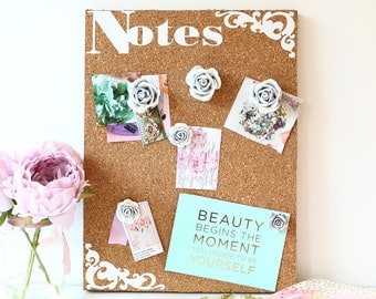 Cork board notice board kitchen office notes organisation memo holder recipe or photo holder 2 sizes available  STUNNING Rose Pins inluded