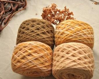 "Organic wool yarn set ""Honey Maple""/ Plant dyed yarn / Olive, cream variegated yellow, white, rose / Knitting yarn / Natural yarn pack /Sock"