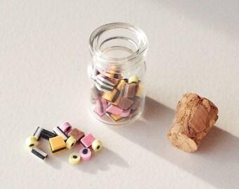 Miniature Liquorice Allsorts in Glass Jar | Dollhouse Miniature Food
