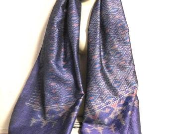Ikat dyed brocade silk scarf