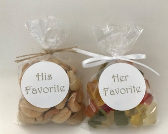 Wedding His and Her Favorite Treat Bags
