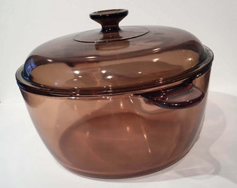 Pyrex Visions Amber Glass Dutch Oven 4.5 Liter Dutch Oven, Glass Cookware, Vintage Pyrex