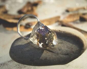 Brown Lichen Quartz Cast Forest Resin Ring #8152