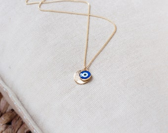Bridesmaids Necklace Greek Eye Necklace 14k Gold Filled Chain, Delicate Evil Eye Jewelry Protection Necklace Gold Evil Eye Gold Necklace