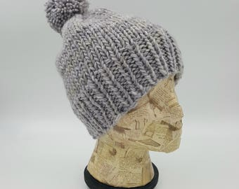 Fitted Beanie, Pom Pom Beanie, Hand Knit Hat, Light Grey Beanie, Winter Hat, Hat for Women, Wool Hat, Merino Wool Beanie, Gray Beanie