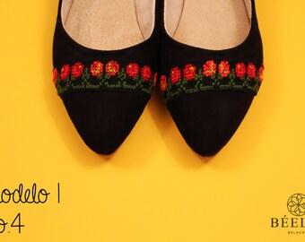 Embroidery Shoes - Flats, Handmade.