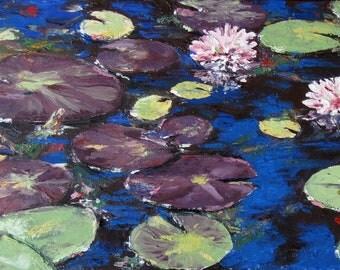 "Water Lilies I- 10""x 20""-Garland Fulghum"
