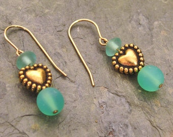 Valentine Earrings ~ Gold Heart Dangle Earrings with Sea Green Glass Beads ~ Simple and Sweet - 14Kt Gold Filled Earwires