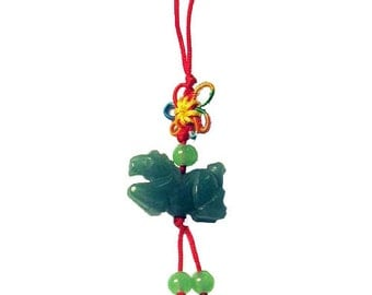 Apple Green Jade Horse Silk Cord Charm Pendant