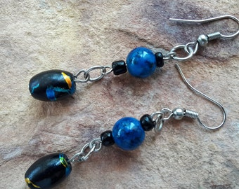 Dangle drop earrings blue black silver beaded jewellery handmade jewelry beaded earrings modern earrings fashion earrings trendy earrings