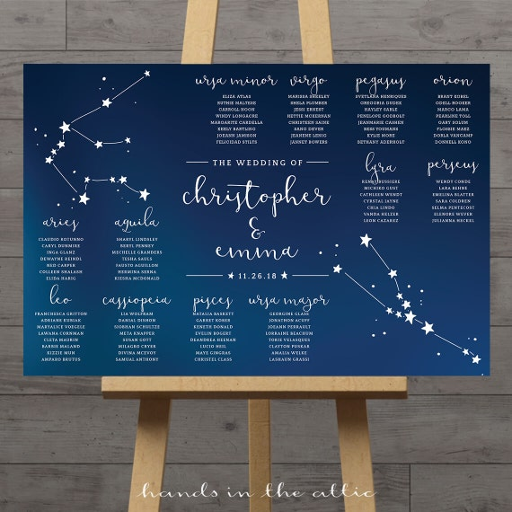 Wedding Star Chart: Plan De Table Mariage Constellation Graphique Places Mariage